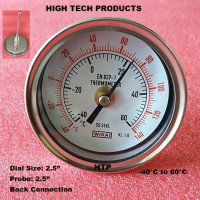 Temperature Gauge -40°C to 60°C, Chrome Body Dial Size 2.5 Inch, Probe Length 2.5 Inch, Back Connection, Reliable Quality In Stock